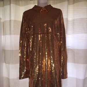 Nasty Gal copper sequin dress